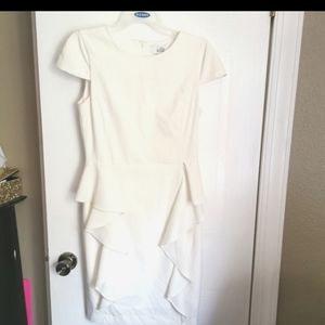 Belle Badgley Mischka white peplum dress size 6